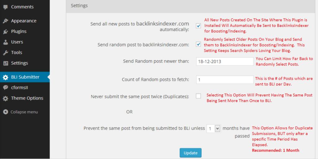 BLI submitter plugin settings