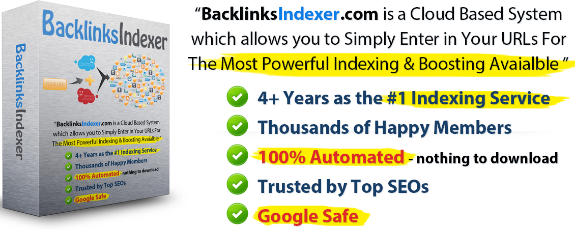 BacklinksIndexer.com Boxart - Cloud based tool used to index links and make them more powerful in Google